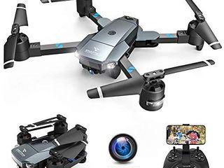 SNAPTAIN A15H Foldable FPV WiFi Drone w Voice Control 120Wide Angle 720P HD Camera Trajectory Flight Altitude Hold G Sensor 3D Flips Headless Mode One Key Return 2 Modular Batteries App Control