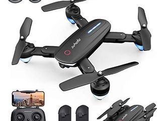 Zuhafa Drone T4 WiFi FPV RC with 1080P HD Camera for Kids and Adults  for Beginners Altitude Hold Mode  RTF One Key Take Off landing  Gesture Control APP Control Double Camera 2Pcs Batteries