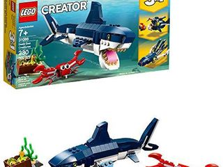 lEGO Creator 3in1 Deep Sea Creatures 31088 Make a Shark  Squid  Angler Fish  and Crab with This Sea Animal Toy Building Kit  230 Pieces