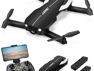JJRC Foldable Drone with 2 Batteries  Optical Flow Positioning Quadcopter with Carrying Case for Beginners Headless Mode Altitude Hold Black