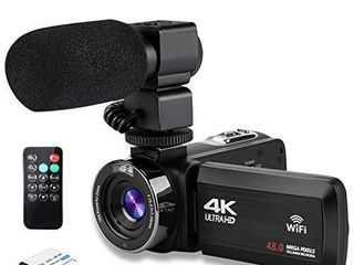 Video Camera 4K Camcorder Ultra HD Vlogging Camera for YouTube 48MP 16X Digital Zoom Recorder IR Night Vision 3 0 inch Touch Screen with Microphone  WiFi Funtion 2 Batteries