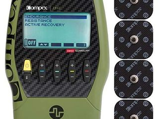 Compex Edge 2 0 Muscle Stimulator with TENS Bundle Kit  Electric Muscle Stimulation Machine  EMS    12 Snap Electrodes  4 Programs  lead Wires  Battery  Case   2 strength  1 recovery  1 TENS