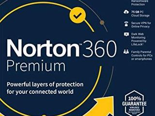 Norton 360 Premium 2021 Antivirus Software for 10 Devices with Auto Renewal   Includes VPN  PC Cloud Backup   Dark Web Monitoring Powered by lifelock  Key card