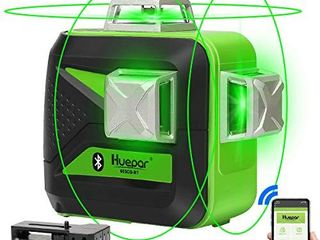 Huepar 3 x 360 Green Beam 3D laser level with Bluetooth Connectivity Three Plane Self leveling and Alignment Cross line laser level  One 360 Horizontal and Two 360 Vertical lines laser Tool 603CG BT