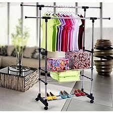 Dual Bars Horizontal 3 Tier Garment Drying Rack Shoe Rack SEE DESCRIPTION