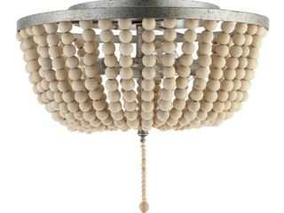 Allison Wood Beaded Metal lED Flush Mount by JONATHAN Y