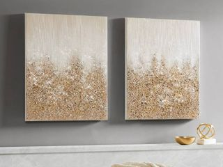 Madison Park Golden Glimmer Hand Brush Embellished Canvas Set