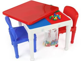 Humble Crew 3pc 2 in 1 Square Activity Table With 2 Chairs Blue Red