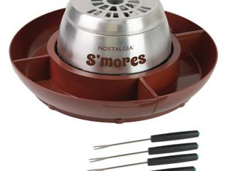 Nostalgia lSM400 Indoor Electric Stainless Steel S mores Maker with 4 lazy Susan Compartment Trays and 4 Roasting Forks