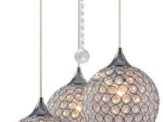 Chandelier w  Three Crystal Globe Shades