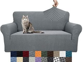 YEMYHOM Couch Cover latest Jacquard Design High Stretch Sofa Covers for 2 Cushion Couch  Pet Dog Cat Proof loveseat Slipcover Non Slip Magic Elastic Furniture Protector  loveseat  light Gray