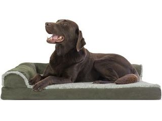 FurHaven Pet Dog Bed Deluxe Orthopedic Faux Fur   Suede l Shaped Chaise Couch Pet Bed for Dogs   Cats  Dark Sage  large