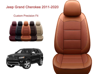 OASIS AUTO Grand Cherokee Custom Fit PU leather Seat Cover for 2011 2012 2013 2014 2015 2016 2017 2018 2019 2020 2021  Grand Cherokee  Orange