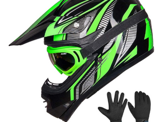 IlM Youth Kids ATV Motocross Dirt Bike Motorcycle BMX Downhill Off Road MTB Mountain Bike Helmet DOT Approved  Youth Xl  Green Silver