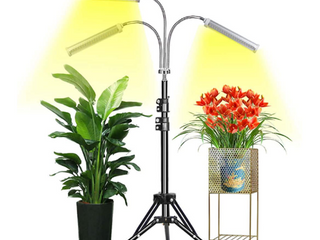 Grow light Abonnylv Floor lED Grow light with Stand  Tri Head Sunlike Full Spectrum 150W 315 lEDs Plant light for Indoor Plants Tripod Stand Adjustable 15 47 in   3 Modes