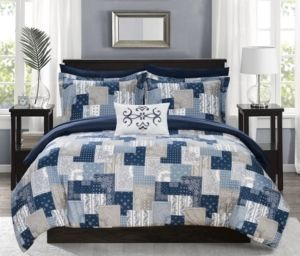 Queen 8pc Viy Bed In A Bag Comforter Set Blue   Chic Home