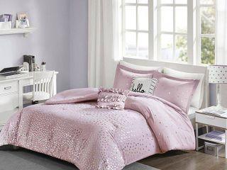 5pc Full Queen Nova Metallic Comforter Set   Purple Silver