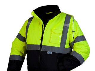 Pyramex RJ3210Xl RJ32 Series Jackets Hi Vis lime Bomber Jacket with Quilted lining  Size Extra large
