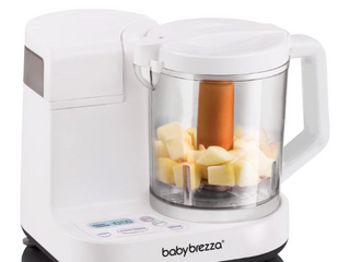 Baby Brezza Glass Baby Food Maker Cooker and Blender to Steam and Puree Baby Food for Pouches in Glass Bowl   Make Organic Food for Infants and Toddlers 4 Cup Capacity