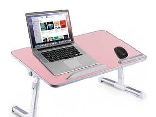 Huryfox Bed Desk for laptop Foldable Adjustable Bed Tray for Work from Home Portable Table for Eating Gaming Reading  Multifunctional lap Stand Pink  11 8IN X 20 4IN
