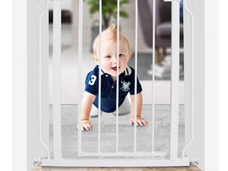 WAOWAO Narrow Baby Gate Easy Walk Thru Pressure Mount Auto Close White Metal Child Dog Pet Safety Gates 30 7in Tall for Stairs Doorways Kitchen and living Room 24 02 29 13 in