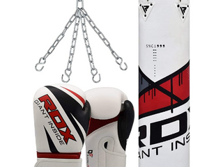 RDX Punching Bag UNFIllED Set Kick Boxing Punch Training Gloves with Hanging Chain  Ideal for MMA  Muay Thai  Martial Arts  Available in 4FT 5FT Retail  129