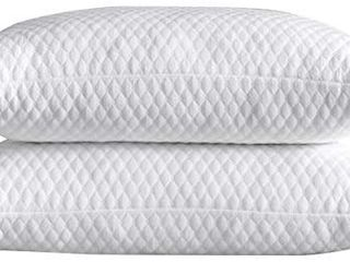 NTCOCO 2 Pillows  Shredded Memory Foam Bed Pillows for Sleeping  with Washable Removable Bamboo Cooling Hypoallergenic Sleep Pillow for Back and Side Sleeper  White  King  2 Pack
