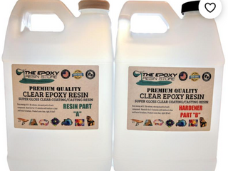 Clear epoxy resin easy mixing cures clear and shiny   1 gallon kit