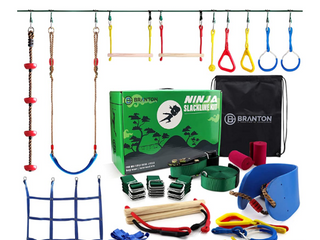 Ninja Warrior Obstacle Course for Kids   Ninja Slackline 50  with 10 Accessories for Kids  Includes Swing  Obstacle Net Plus Grip Tape   Have Fun  Keep Fit and Become a Ninja Warrior   Swing Strap