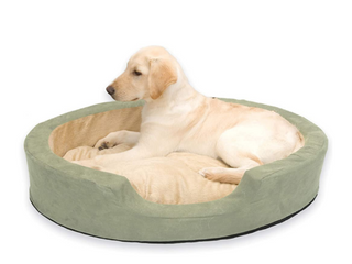 K h Pet Products 1923 Thermo snuggly Sleeper Heated Pet Bed large Sage 31  X