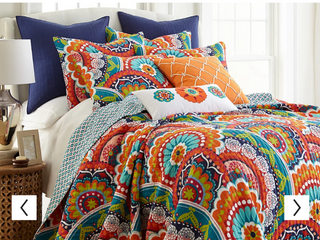 Floral set with comforter set  Red  Green  Yellow  Blue