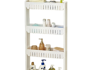 Tosnail 4 Tiers Slim Storage Cart Mobile Shelving Slide Out Storage Rolling Utility Tower Rack for Kitchen  Bathroom  laundry Narrow Places