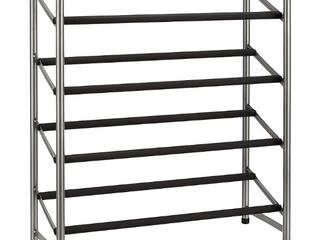 Amazon Basics Easy Assemble Shoe Rack   4 Tier  Silver