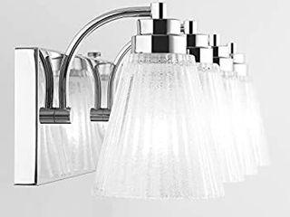 Mateyrie 3 light Bathroom Vanity light  22 inch Chrome Bathroom light fixtures lED Modern Crystal Glass Vanity  Retails 69 95