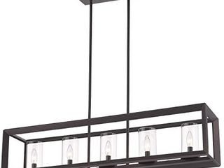 Emliviar 5 light Kitchen Island lighting  Modern Domestic linear Pendant light Fixture  Oil Rubbed Bronze Finish With Clear Glass Shade  2074lP ORB  Retails 185 99