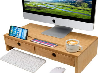 Monitor Stand Riser with Drawers   Bamboo Desk Shelf Organizer 22 05 x 10 60 x 4 70 Inch