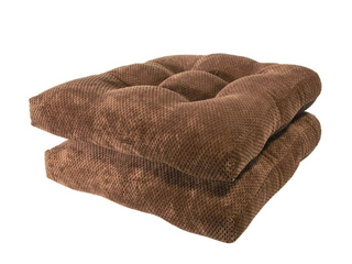 Arlee   Delano Chair Pad Seat Cushion  Memory Foam  Non Skid Backing  Durable Fabric  Superior Comfort and Softness  Reduces Pressure and Contours to Body  Washable  16 x 16 Inches  Brown  Set of 2
