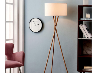 Archiology Tripod Floor lamp   Modern Wood Floor lamp with White Drum Shade and E26 lamp Base Perfect for living Room  Bedroom  Study Room and Office