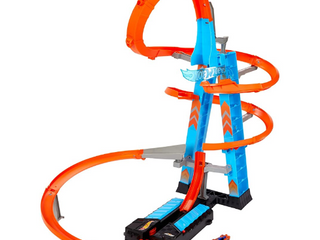 Hot Wheels Sky Crash Tower Track Set  2 5  ft High with Motorized Booster  Orange Track   1 Vehicle  Race Multiple Cars  Gift for Kids 5 to 10 Years Old   Up