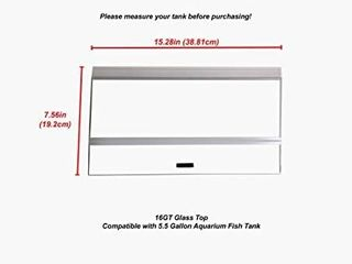 H2Pro 16  Glass Canopy 5 5 Gallon Aquarium Fish Tank  15 28A7 56A0 16in  Retails 34 99