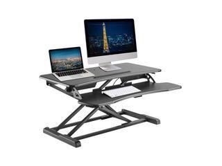 DAMAGE SEE PICTURES  Standing Desk Converter  32  Height Adjustable Stand Up Desk Riser   Sit to Stand Desktop Workstation  Retails 129 95