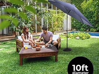 Home Zone living 10ft Tilting Patio Umbrella  Instant Up   Down  navy  Retails 99 99