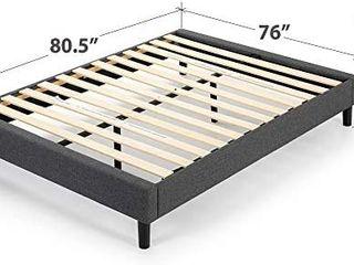 Zinus Curtis Upholstered Platform Bed Frame   Mattress Foundation   Wood Slat  King  Retails 238 15
