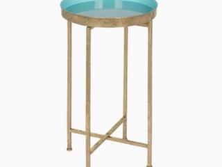 Celia Gold light Teal Metal Round End Table  RETAIl PRICE 59 99