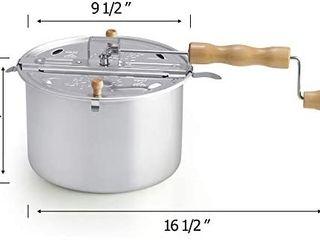Cook N Home 02626 6 Quart Aluminum Stovetop Popcorn Popper Silver  Retails 29 95
