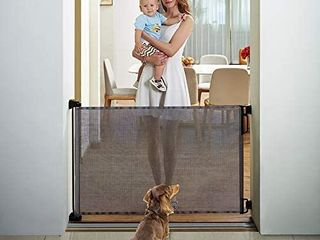 EasyBaby Product Indoor Outdoor Retractable Baby Gate  33  Tall  Extends up to 55  Wide  Grey  Retails 59 87
