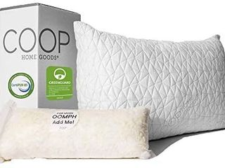 Coop Home Goods   Premium Adjustable loft Pillow   Hypoallergenic Cross Cut Memory Foam Fill   lulltra Washable Cover from Bamboo Derived Rayon   CertiPUR US GREENGUARD Gold Certified   Queen