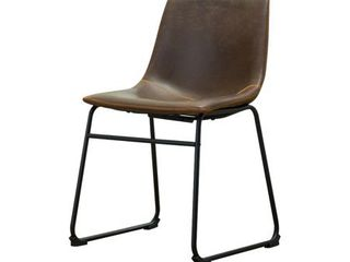 ONlY ONE CHAIR  Roundhill Furniture lotusville Vintage Upholstered leather Dining Chairs  Antique Brown  Retails 44