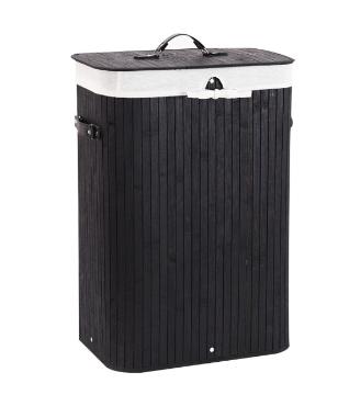 Machinehome laundry Hamper Bamboo Washing Storage Basket with lid Bag Handle Bathroom Dirty Clothes Bin  Black  RETAIl PRICE 31 99