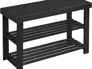 3 Tier Bamboo Shoe Rack Bench  Shoe Organizer Shelf  Holds up to 256 lb  Black